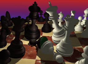 Chess Pieces in Turmoil on the board Image